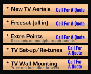 New TV Aerials, Freesat, Extra Points, TV Set-up & Re-tunes, TV Wall Mounting